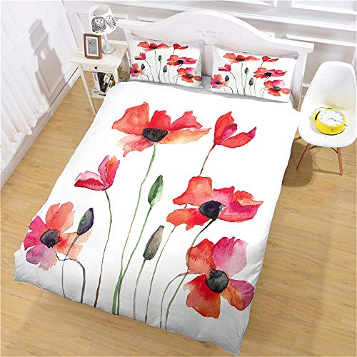 GenericBrands Duvet Cover Painted Poppies Duvet Cover and Pillow Case Soft breathable 3-piece bedding set suitable for any bedroom, pillowcases Customizable size-180x200cm