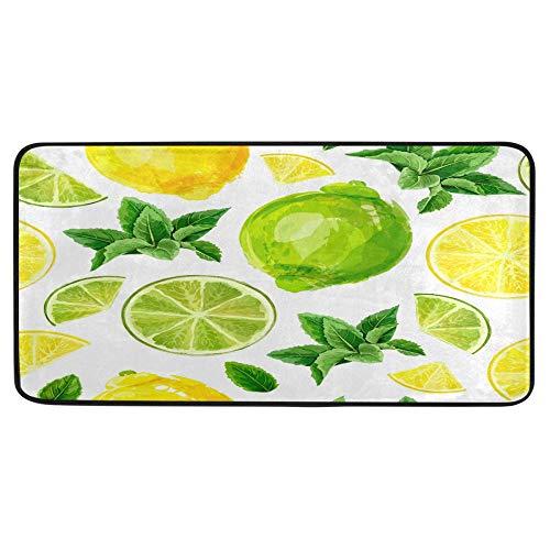 Alfombra de cocina de frutas cítricas lima, limón, para baño, de verano, de frutas, de verano, antideslizante, para baño, interior, 99 x 50 cm
