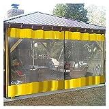 Lona Impermeable Exterior Exterior Cortina de vinilo, para la carpa con dosel de pérgola, Resistente al agua a prueba de viento Panel individual de lona transparente con ojales, Amarillo, 4m / 3m / 2m