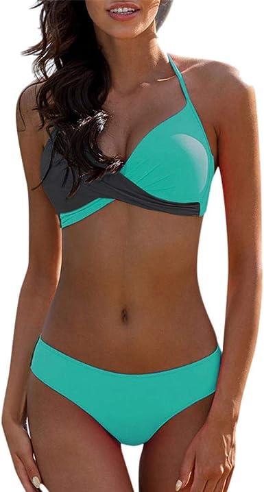 ESAILQ Frau Print Fashion Push-Up Gepolsterter BH-Bikini-Set Badeanzug Badebekleidung