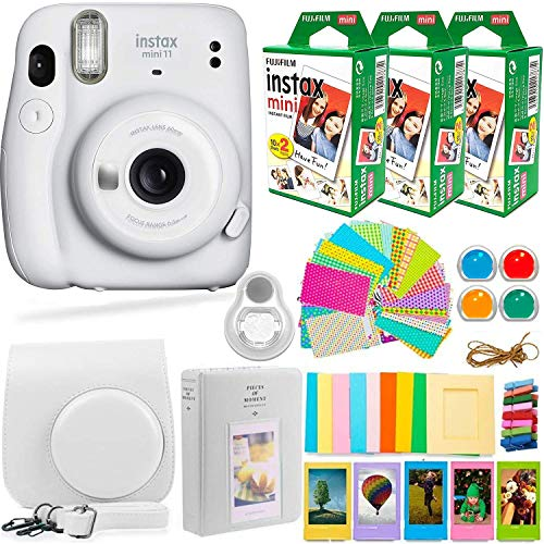 Fujifilm Instax Mini 11 Camera with Fuji Instant Film (60 Sheets) & Accessories Bundle Includes Case, Filters, Album, Lens, and More