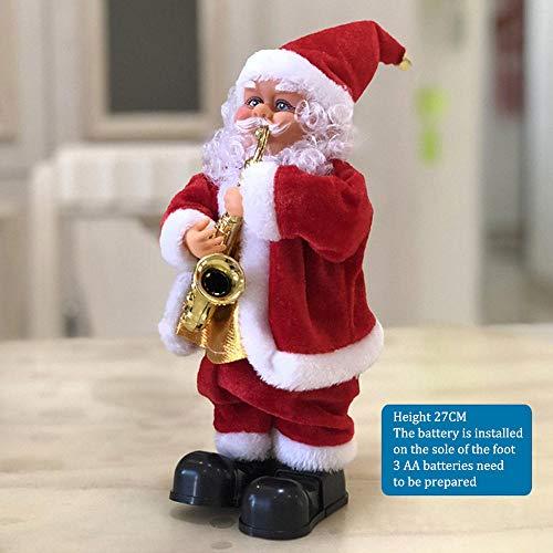 Fslt Muñeco de Santa Claus Música eléctrica Canto de Navidad Juguete Musical Saxofón Elk Decoración de Navidad Tienda de Escritorio Adornos de Ventana GIFS-A