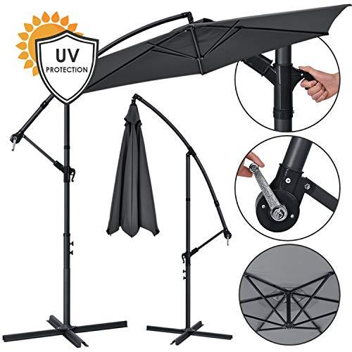 ArtLife Ampelschirm Brazil 300 cm Kurbel Ständer – UV-Schutz wasserabweisend knickbar – Sonnenschirm Marktschirm – grau