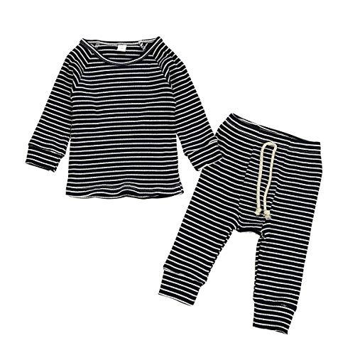 DaMohony - Pijamas Algodón para Niños Niñas Ropa de Dormir de Dos Piezas Ropa Interior Cómodo de Rayas para Bebés Recién Nacidos de 0-18 Meses