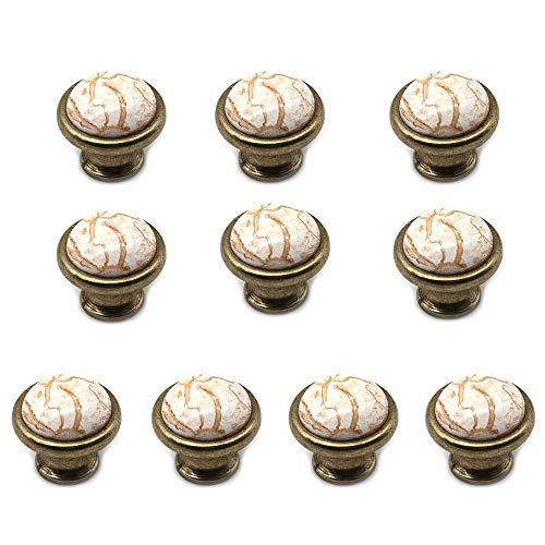 NUZAMAS - Set di 10 pomelli in ceramica per armadietti, credenze, armadi e cassetti, per cucina, camera da letto, bagno, 37 mm