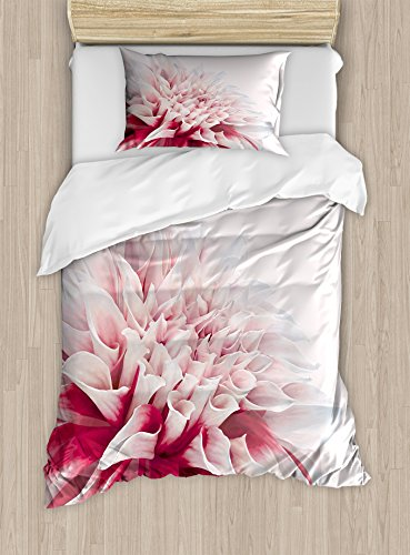 Ambesonne Dahlia Duvet Cover Set, Close up Blossom Pastel Colored Petals Single Large Flower Meadow Print, Decorative 2 Piece Bedding Set with 1 Pillow Sham, Twin Size, White Ivory