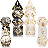 2 Sets Transparent Resin Polyhedral 7-Die Dice Set Fit Dungeons and Dragons Smoke DND Dice for Role Playing Game RPG MTG Table Game Dice (Black, White)