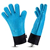 Oven Gloves, Heat Resistant Cooking Gloves Silicone Grilling Gloves Long Waterproof BBQ Kitchen Oven Mitts with Inner Cotton Layer for Barbecue, Cooking, Baking-Blue