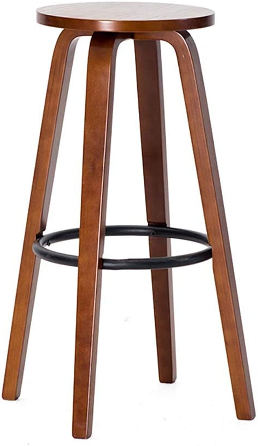 ZHAOYONGLI Barstools,Stools Solid Wood bar Chair Round high Stool bar Stool Home Coffee Stool (color   Brown Chair Frame (Iron Ring))