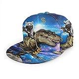 LAOLUCKY Gorra de béisbol ajustable unisex Snapback Space Cat Riding - Dinosaur T-rex con dólares de pistola, color negro Talla única