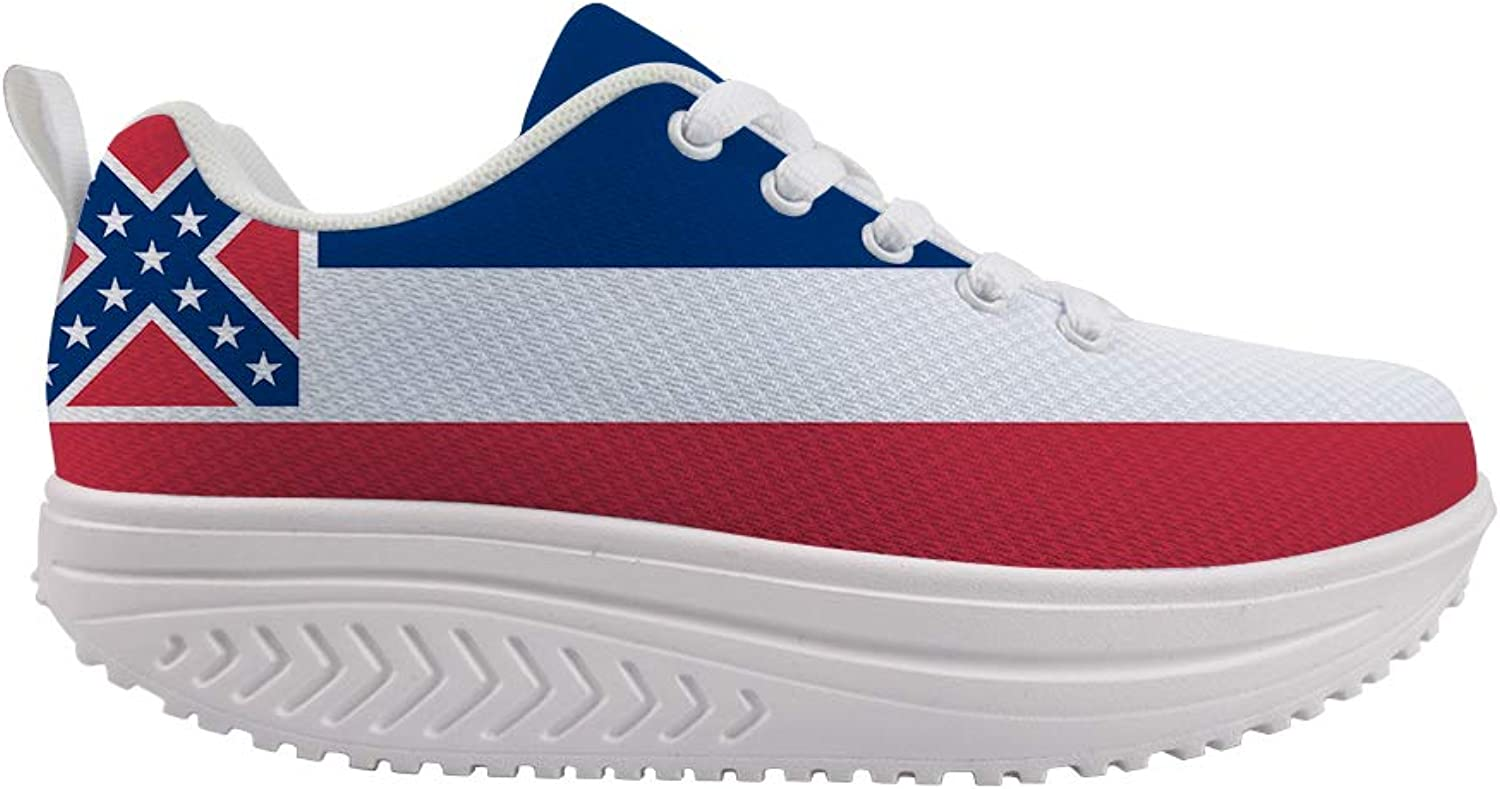 Owaheson Swing Platform Toning Fitness Casual Walking shoes Wedge Sneaker Women Mississippi Flag