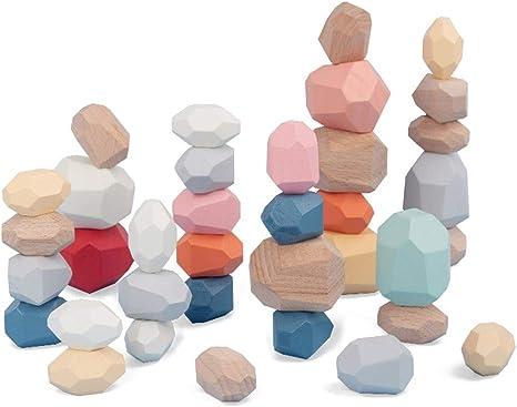 Exiron 36 Pcs Wooden Balancing Blocks Stacking Stones Rocks Colorful Wood Stone Building Set Natural Rainbow Game Rock Blocks for Kids Educational Toys