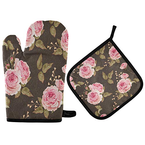 Nander Rose Bud Green Leaf Oven Mitts and Potholders Set, with Heat Resistance and Recycled Cotton Infill Non-Slip Cooking Gloves for Baking Cooking BBQ