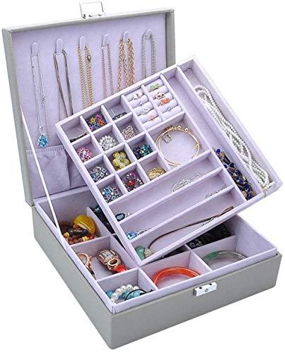 Caja de joyería Caja de joyería para pendientes, anillo de la bandeja del sostenedor de la pulsera, collar de almacenamiento, organizador de joyas