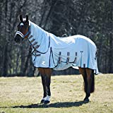 HORZE Freja Durable Mesh Combo Fly Sheet with Belly Guard and Detachable Neck Cover | UPF 50+ UV Protection - Light Blue - 72