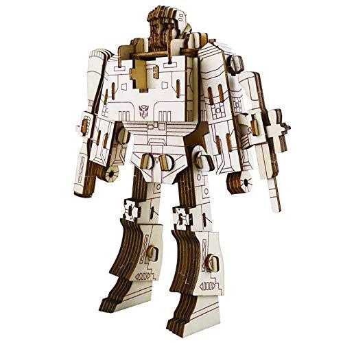 Robot Puzzles 3D Wooden Building Blocks Model Self-Assembly Craft Kit DIY Brain Teaser Toys Best Gifts for Women & Men (Robot-2)