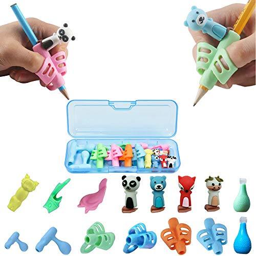 Guide Doigt Enfant, Aide écriture - Lot de 16 Guide Doigts au Design Ergonomique Pencil Grips pour Enfants Étudiants-Pencil Grips Avec Trousse(Bleu)