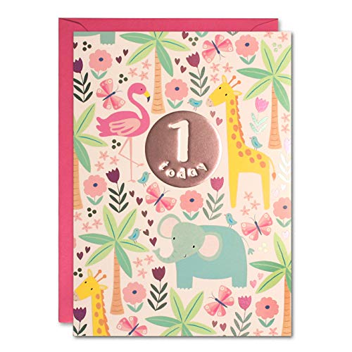 James Ellis HC3138 Geburtstagskarte zum 1. Geburtstag, Dschungel, Pink