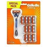 Gillette Fusion5 Regolabarba Uomo, Rasoio a Mano Libera, 11 Lamette da Barba da 5 Lame, Rasatura Confortevole, con Rifinitore di Precisione, Fino a 1 Mese di Rasatura con 1 Lametta