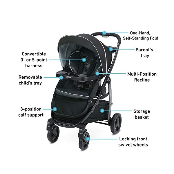 Graco Modes Stroller, Grayson Graco Accepts all Greco Click Connect infant car seats with a secure one-step attachment to create your own travel system 3-in-1 stroller with 10 riding options, from infant to toddler Convertible stroller has a reversible stroller seat allows baby to face you or the world, and the 4-position reclining seat converts into an infant carriage for on-the-go comfort 4