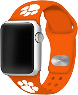 AFFINITY BANDS Clemson Tigers Silicone Watch Band Compatible with Apple Watch (38/40mm Orange) - Licensed NCAA Watch Band
