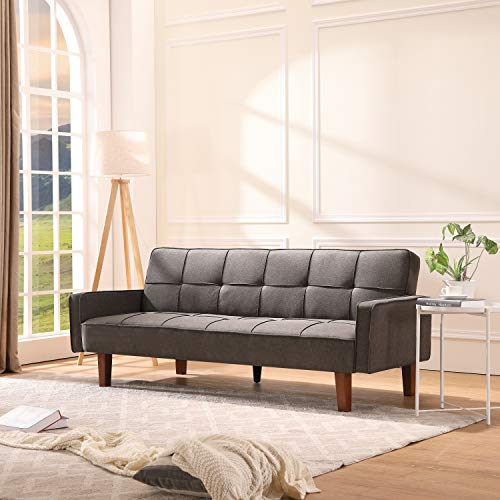 Futon Sofa Bed Couch Modern Linen Fabric Tufted Convertible Sleeper Sofa Expandable Memory Foam Cushion for Living Room or Bedroom 3 Angles for Adjusting (Gray)
