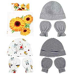 Bucaum Newborn Floral Receiving Blankets Newborn Baby Swaddling with Headbands or Hats Sleepsack Toddler Warm