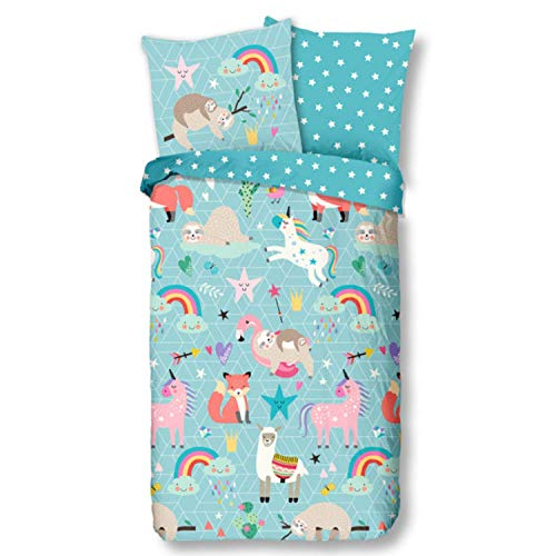 Aminata Kids Bettwäsche 135x200 Kinder Tiere Tier-Zoo-Motiv Mädchen Baumwolle Kinder-Bettwäsche-Set mit Reißverschluss Safari-Dschungel-Motiv Lama, Einhorn, Fuchs, Flamingo & Faultier - Regenbogen
