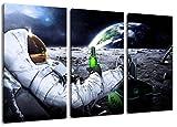 Astronaut auf Mond Motiv, 3-teilig auf Leinwand