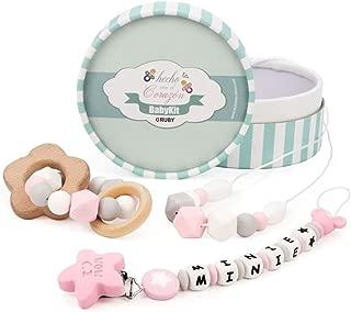RUBY - Pack 3 piezas de silicona chupetero personalizado con nombre, collar lactancia, sonajero mordedor (Rosa Pastel)