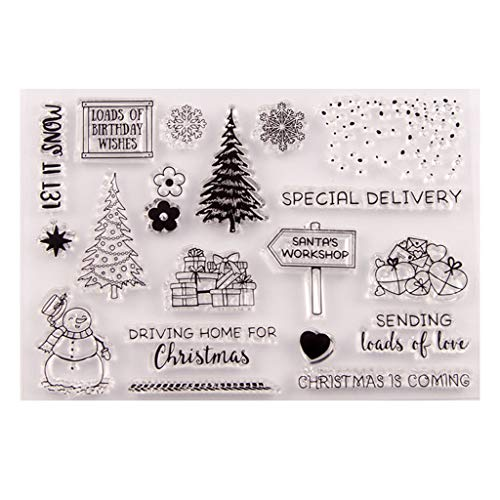 llwei258 Kerstboom Sneeuwman Siliconen Clear Stempel Seal DIY Scrapbook Embossing Album Decor Craft Art