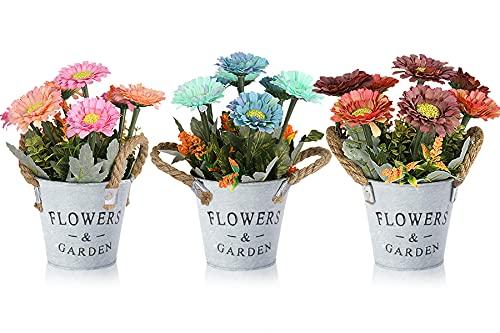 HOTLIKE Flores Artificiales Decoración, 3Pcs Plantas Artificiales de Maceta, Mini Artificiales...