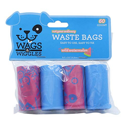 Wags amp Wiggles Large Scented Dog Waste Bags | Watermelon Scented Dog Poop Bags | 4 Rolls of Doggie Bags 60Count