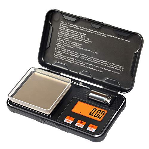 Báscula digital de bolsillo, mini escala de 200 g/0,01 g con pinzas de calibración, 6 unidades de conversión de gran precisión multifunción de cocina gramo, para joyas, café, polvo, medicina.