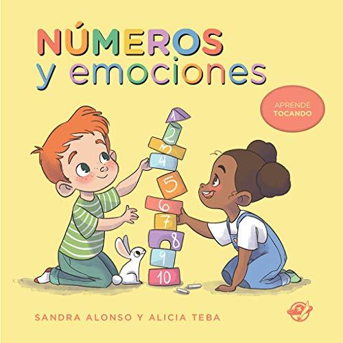 Números y emociones - Libro para niños de 2 años: Libro de cartón: Aprende tocando con bajo relieve