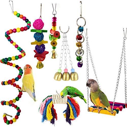 Sunrise-EU speelgoed papegaai, 7 stuks bont vogelspeelgoed, papegaai speelgoed vogels, kleurrijke klemmen hangende houten ladder hangmat, henneptouwnet schommel draaischijder