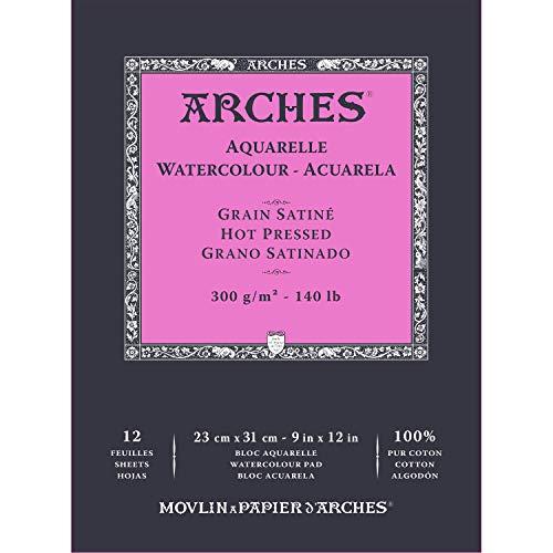Arches- Bloc Enc 23 x 31 12H Aquarelle 100% Satin 300 g Blanc Nat, A1795097