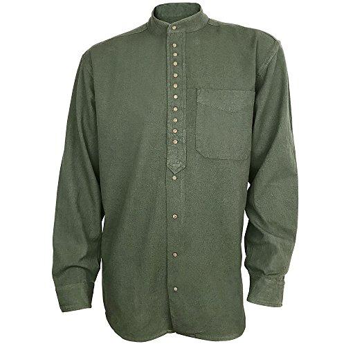 Civilian Irish Grandfather Collarless Shirt, Cotton and Linen Long-Sleeve Traditional Irish Shirt (Dark Army, Medium)
