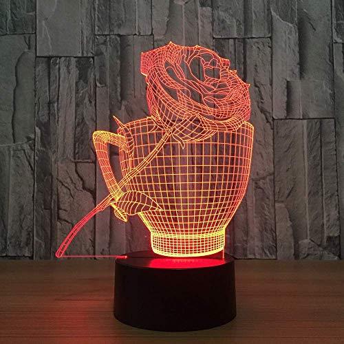 Kaffeetassen Und Rosen Lampe 3D 7 Farbe Visuelle Led Nachtlichter Kinder Usb Tisch Lampara Lampe Baby Schlafen Nachtlicht Geschenke Dekor