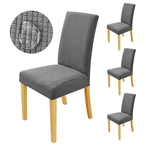 sorliva Stuhlhussen Stretch 4er Set Abnehmbarer waschbarer Stuhlbezug für das Esszimmer Moderne elastische Stuhlschutzdekoration für Büro Bankette Hochzeitsfest