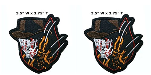 Application classique Halloween Friday the 13th Freddy Kreuger Cosplay badge brodée fer ou Sewn-on Applique Patch 2-pack Ensemble cadeau