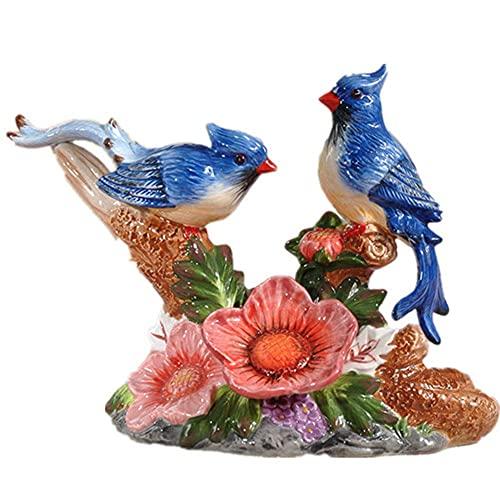 Dpliu Statues d'oiseaux romantiques et Figurines pour l'intérieur de la céramique Figurine Figurine Ornement, décoration de Bureau à Domicile pour Votre Style Familial Chic (Color : B)