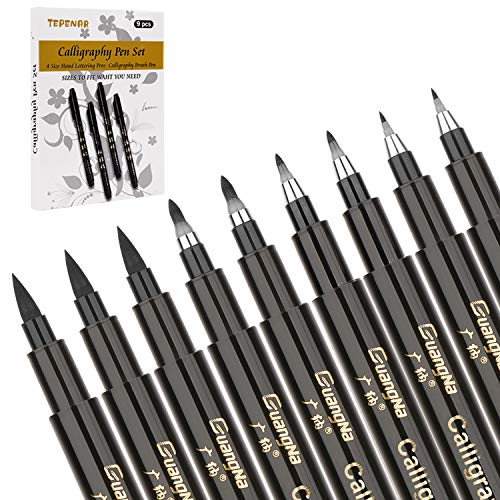 Kalligraphie Stifte -TEPENAR 9 Stück Kalligraphie Kugelschreiber Pinsel Stift Schwarze Fasermaler für Anfänger zum Schreiben Beschriften Zeichnung Entwerfen Beschriftung und Illustrieren(4 Größen)