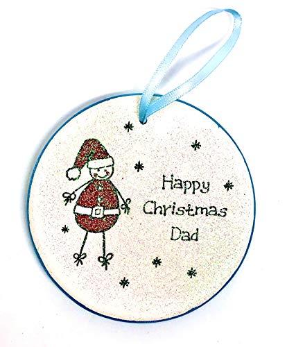 Una Casa Happy Christmas Dad - Decoración redonda de cerámica para árbol de Papá Noel