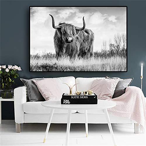 Zwarte en witte gratis Highland koe dier canvas schilderij posters en prints scandinavische koe muur kunst foto voor woonkamer frameless