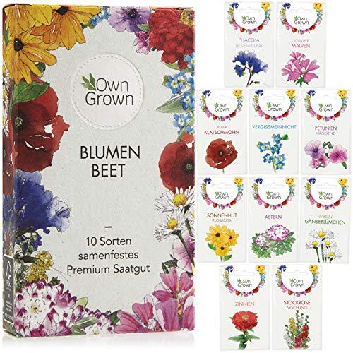 Blumen Samen für Garten und Balkon: 10 Sorten Premium Blumensamen Tütchen als Pflanzensamen Set – Balkonblumen Samen – Wildblumensamen Saatgut Balkon und Samen Garten – Blumensamen Balkon von OwnGrown