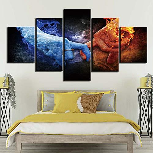 YXBNB 5 aufeinanderfolgende GemäldeLeinwand HD Moderne Wandkunst Dekoration Wohnzimmer 5 Panel EIS und Feuer Finger contes Druck Malerei Modulare Bilder Poster