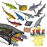ArtCreativity Sharks & Rays in Mesh Bag, Pack of 12 Sea Creature Figurines in Assorted Designs, Bath Water Toys for Kids, Ocean Life Party Décor, Party Favors for Boys and Girls