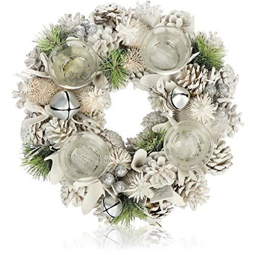 com-four® Tischkranz für Weihnachten - weißer Adventskranz mit Glitzer - Dekokranz mit 4 Teelichthaltern - Weihnachtsdeko - Weihnachtskranz - Ø 32 cm