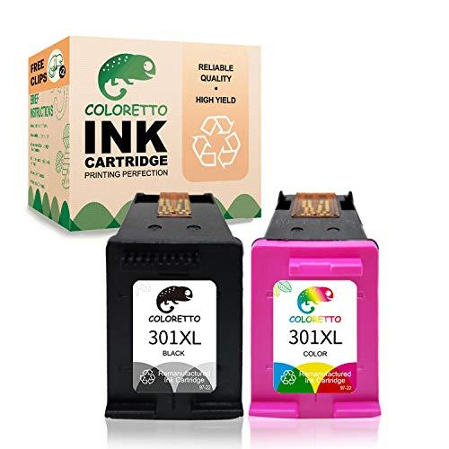 COLORETTO Druckerpatronen kompatibel für HP 301XL für HP Officejet2620 2622 2624 4630 4632 Envy 4500 4502 4503 (1 Schwarz, 1 Farbe)